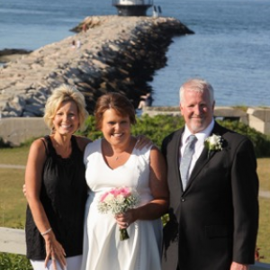 Connie with Tom & Rhonda _ 20 Year Ann at Spring Point Ledge Light 7-11-18