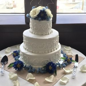 Wedding Cake 3 Tier with Scrolls & Flower Top (3) (1)
