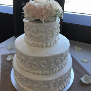 Wedding Cake 3 Tier with Scrolls & Flower Top